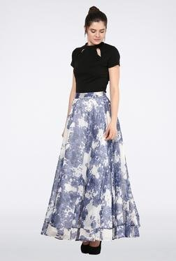 Femella Blue Printed Circular Maxi Skirt