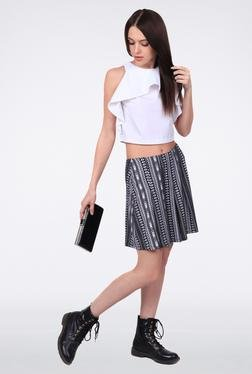 Femella Black Printed Pleated Short Skirt