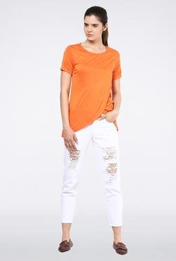 Femella Orange Front Overlap Top