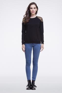 Femella Black Shoulder Sequins Pullover