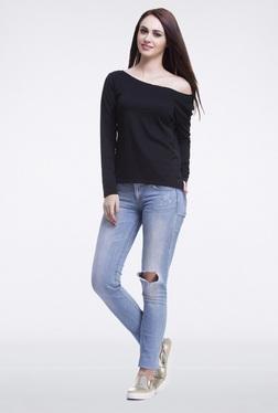 Femella Black Off Shoulder Pullover