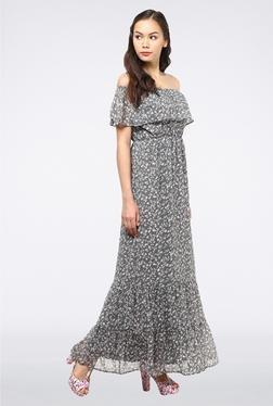 Femella Grey Off Shoulder Ruffle Maxi Dress