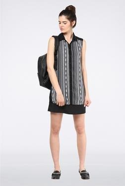 Femella Black Sheer Panel Shirt Dress