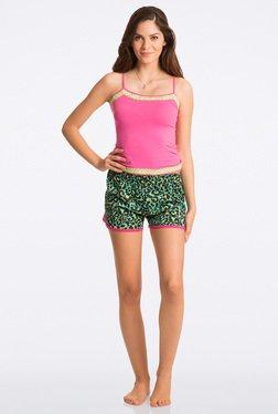 Pretty Secrets Green Animal Print Shorts