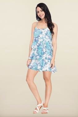 Femella Blue Floral Printed Multi Tier Dress