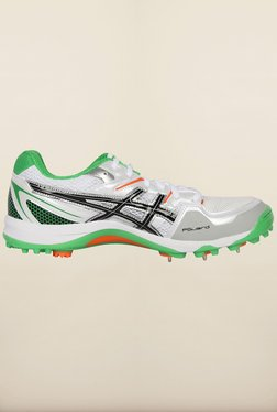 Asics White and Green Cricket Shoes
