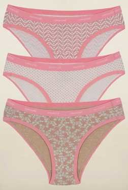 Amante Pink And White Printed Bikini Panties (Pack Of 3)