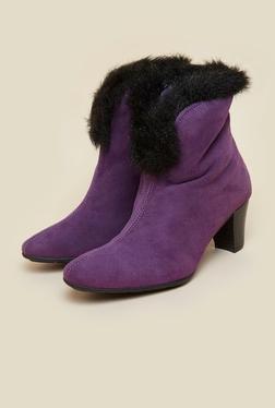 La Briza Purple Ankle Strap Boots