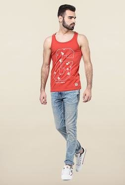 Jack & Jones Red Scoop Neck Printed Vest