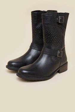 La Briza Black Knee Length Cowboy Boots