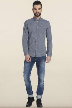 Jack & Jones Grey Solid Cotton Casual Shirt