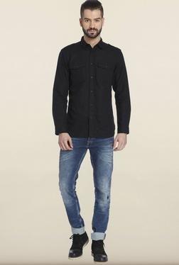 Jack & Jones Black Solid Casual Shirt - Mp000000000074529