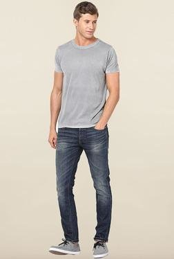 Jack & Jones Light Grey Solid Crew Neck T-Shirt