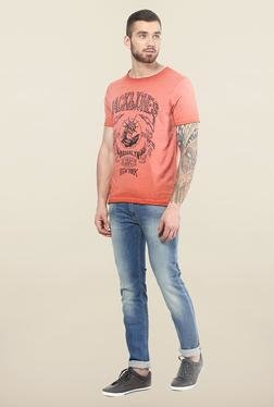 Jack & Jones Red Round Neck Slim Fit T-Shirt