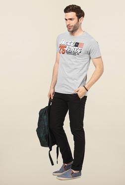 Jack & Jones Light Grey Round Neck Printed T-Shirt