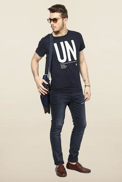 Jack & Jones Navy Washed Slim Fit Jeans