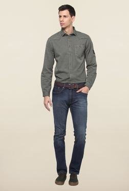Jack & Jones Grey Solid Slim Fit Casual Shirt