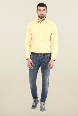 Jack & Jones Yellow Solid Slim Fit Casual Shirt