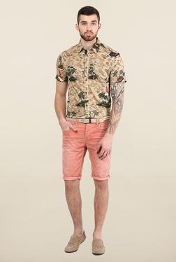 Jack & Jones Beige Printed Slim Fit Shirt
