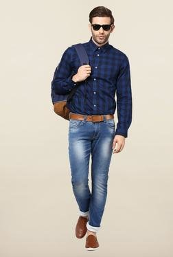 Jack & Jones Blue Checks Slim Fit Casual Shirt
