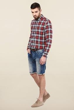 Jack & Jones Red Checks Slim Fit Casual Shirt