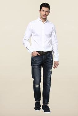 Jack & Jones White Solid Slim Fit Casual Shirt - Mp000000000075673