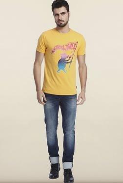 Jack & Jones Yellow Printed Crew Neck T-Shirt - Mp000000000075752