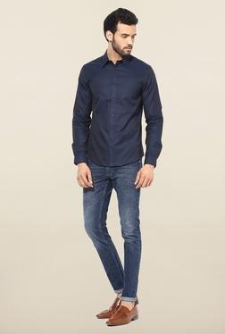 Jack & Jones Navy Solid Casual Shirt