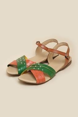 La Briza Green & Brown Flat Sandals