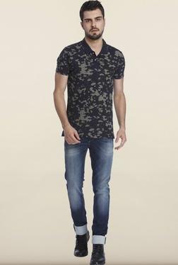 Jack & Jones Navy Camo Polo T-Shirt
