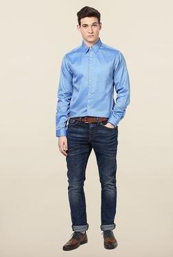 Jack & Jones Blue Self Printed Slim Fit Casual Shirt