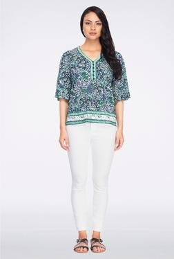 Femella Green & Blue Floral Printed Top