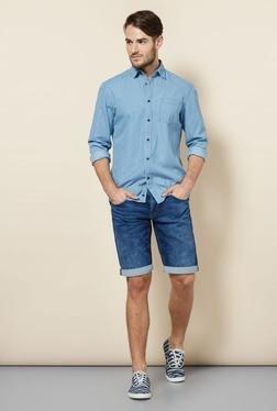 Celio* Blue Solid Denim Shorts - Mp000000000077681
