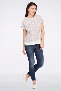 Femella Grey Front Lace Top