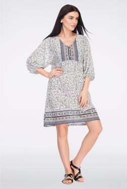 Femella Off White Printed Jersey Shift Dress