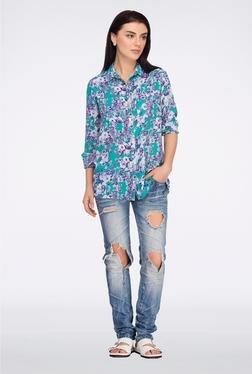 Femella Green & Purple Floral Printed Casual Shirt