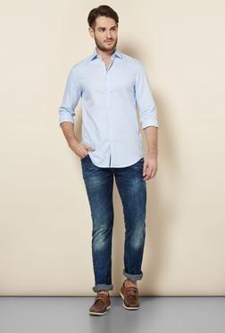 Celio* Blue Self Printed Slim Fit Casual Shirt