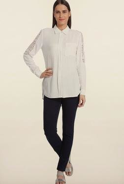 Vero Moda White Solid Casual Shirt