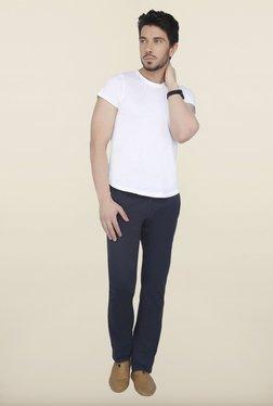 Cottonworld Navy Solid Cotton Trouser