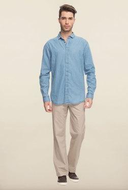 Cottonworld Denim Blue Solid Denim Casual Shirt