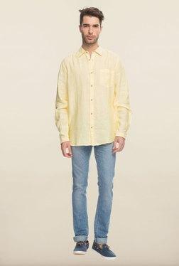 Cottonworld Yellow Solid Linen Casual Shirt