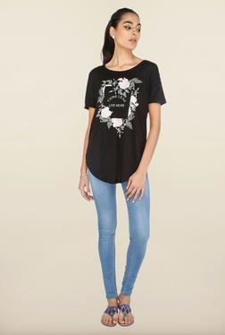 Cottonworld Black Printed Casual Top