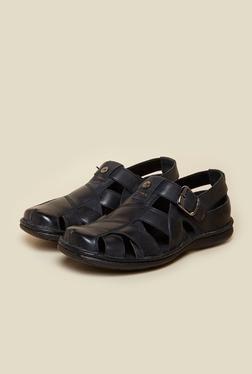 Buckaroo Blaze Black Leather Sandals