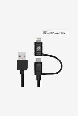 Amzer Apple MFi Certified 1M 2in1 Sync & Charge Cable Black