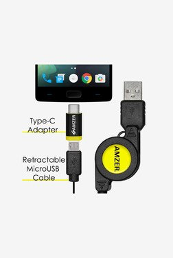 Amzer Micro USB Retractable Data Cable With Type-C Adapter