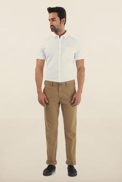 Shapes Khaki Solid Slim Fit Cotton Chinos