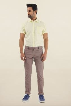 Shapes Grey Solid Slim Fit Cotton Chinos