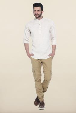 Basics Beige Solid Casual Shirt