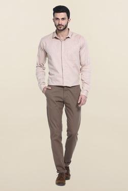 Basics Purple Self Print Cotton Casual Shirt