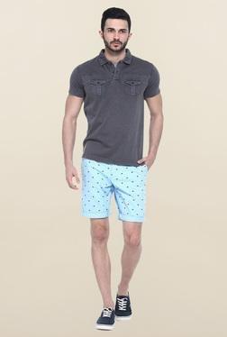 Basics Sky Blue Printed Casual Shorts